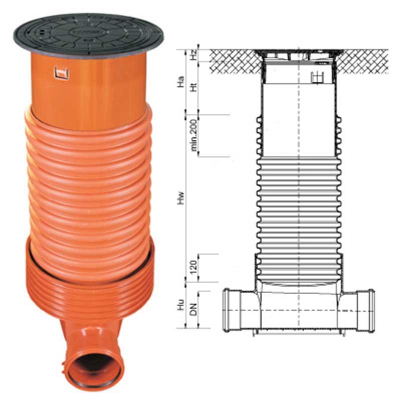 Pozzetto di utenza per allacciamento e ispezione alla fognatura DN 315 / 425